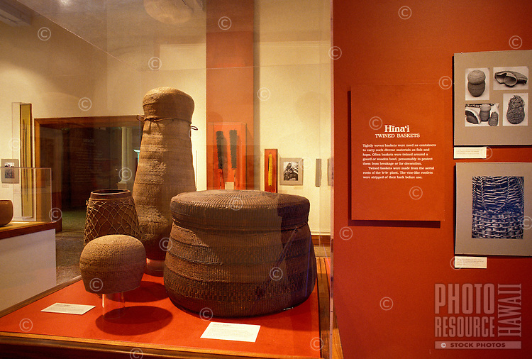 Hawaiian artifacts on display at Bishop Museum, Honolulu