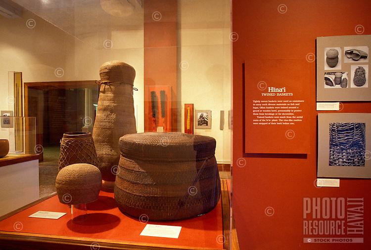 Hawaiian artifacts on display at Bishop Museum, Honolulu