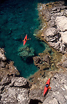 Crete, Greece, Sea Kayakers explore the southwest coast at sunrise, Mediterranean Sea, Europe, Feathercraft breakdown aluminum and fabric sea kayaks, .