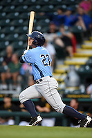 Charlotte Stone Crabs first baseman Jake Bauers (23) hits a home run during a game against the Bradenton Marauders on April 20, 2015 at McKechnie Field in Bradenton, Florida.  Charlotte defeated Bradenton 6-2.  (Mike Janes/Four Seam Images)