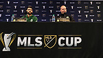 MARIETTA, GA - DECEMBER 06: Portland Timbers Diego Valeri and head coach Giovanni Savarese. The MLS Cup 2018 Team Press Conferences were held on December 6, 2018 at the Children's Healthcare of Atlanta Training Ground in Marietta, GA.