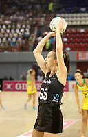 JOHANNESBURG, SOUTH AFRICA - JANUARY 28: Bailey Mes of the Silver Ferns shoots for goal during the Netball Quad Series netball match between Diamonds and Silver Ferns at the Ellis Park Arena in Johannesburg. Mandatory Photo Credit: ©Reg Caldecott/Michael Bradley Photography