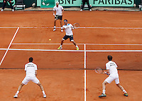 Italy's Fabio Fognini  during their Davis Cup quarter-final doubles tennis match against Britain's in Naples April 5, 2014.