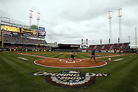 03 April 2006: The crew prepares the field for the Cincinnati Reds' home opener against the Chicago Cubs at Great American Ballpark in Cincinnati, Ohio.<br />