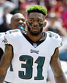 Philadelphia Eagles cornerback Jalen Mills (31) prior to the game against the Washington Redskins at FedEx Field in Landover, Maryland on Sunday, September 10, 2017.<br /> Credit: Ron Sachs / CNP
