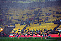Cheerleaders perform in the rain. Super 15 rugby match - Crusaders v Hurricanes at Westpac Stadium, Wellington, New Zealand on Saturday, 18 June 2011. Photo: Dave Lintott / lintottphoto.co.nz