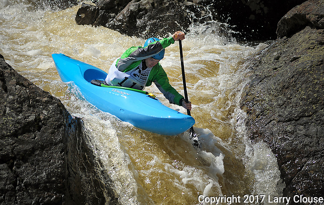 June 8, 2017 - Vail, Colorado, U.S. -  C-1 paddler, Tad Dennis, works his way through Homestake Creek's difficult course in the Steep Creek competition during the GoPro Mountain Games, Vail, Colorado.  Adventure athletes from around the world meet in Vail, Colorado, June 8-11, for America's largest celebration of mountain sports, music, and lifestyle.