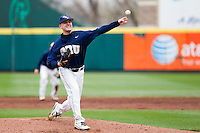 Lars Liguori (43) of the Oral Roberts Golden Eagles delivers a pitch during a game against the Missouri State Bears on March 27, 2011 at Hammons Field in Springfield, Missouri.  Photo By David Welker/Four Seam Images