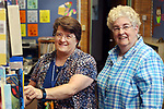 WATERBURY CT. 08 Augusr 2017-080817SV03-From left, Katherin Sniffin, principal, and Ellen Lynch, executive director, get ready for the first day of school at Children's Community School in Waterbury Tuesday.<br /> Steven Valenti Republican-American