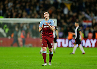 2nd November 2019; London Stadium, London, England; English Premier League Football, West Ham United versus Newcastle United; A dejected Declan Rice of West Ham United applauds the West Ham United fans after full time  - Strictly Editorial Use Only. No use with unauthorized audio, video, data, fixture lists, club/league logos or 'live' services. Online in-match use limited to 120 images, no video emulation. No use in betting, games or single club/league/player publications