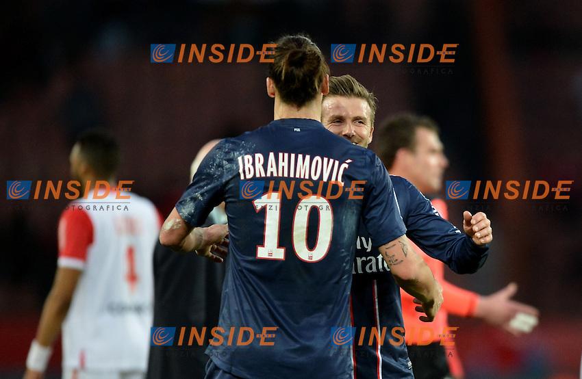 Zlatan Ibrahimovic (psg) - David Beckham (psg) .Parigi 9/3/2013 .Football Calcio 2012/2013 Ligue 1 Francia.Psg Vs Nancy .Foto Panoramic / Insidefoto .ITALY ONLY