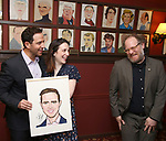 Santino Fontana with wife Jessica Fontana and Andy Grotelueschenduring the Santino Fontana portrait unveiling at Sardi's on May 21, 2019 in New York City.