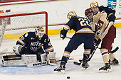Cal Peterson (Notre Dame - 40), Andrew Peeke (Notre Dame - 22), Colin White (BC - 18), Jordan Gross (Notre Dame - 3) - The Boston College Eagles defeated the University of Notre Dame Fighting Irish 6-4 (EN) on Saturday, January 28, 2017, at Kelley Rink in Conte Forum in Chestnut Hill, Massachusetts.The Boston College Eagles defeated the University of Notre Dame Fighting Irish 6-4 (EN) on Saturday, January 28, 2017, at Kelley Rink in Conte Forum in Chestnut Hill, Massachusetts.