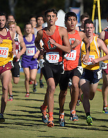 Nov 14, 2015; Claremont, CA, USA; Austin Sankaran (337) and Jovani Barajas (331) of Occidental run during the 2015 NCAA Division III West Regionals cross country championships at Pomona-Pitzer College. (Freelance photo by Kirby Lee)