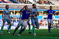 4th January 2020; St Andrews, Birmingham, Midlands, England; English FA Cup Football, Birmingham City versus Blackburn Rovers; Kristian Pedersen of Birmingham City and Bradley Johnson of Blackburn Rovers tussle in the box for position - Strictly Editorial Use Only. No use with unauthorized audio, video, data, fixture lists, club/league logos or 'live' services. Online in-match use limited to 120 images, no video emulation. No use in betting, games or single club/league/player publications