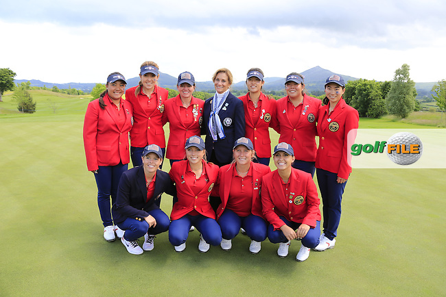 Team USA after the Sunday Singles matches at the 2016 Curtis cup from Dun Laoghaire Golf Club, Ballyman Rd, Enniskerry, Co. Wicklow, Ireland. 12/06/2016.<br /> Picture Fran Caffrey / Golffile.ie<br /> <br /> All photo usage must carry mandatory copyright credit (&copy; Golffile | Fran Caffrey)