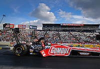 Feb 7, 2014; Pomona, CA, USA; NHRA top fuel dragster driver Leah Pritchett during qualifying for the Winternationals at Auto Club Raceway at Pomona. Mandatory Credit: Mark J. Rebilas-