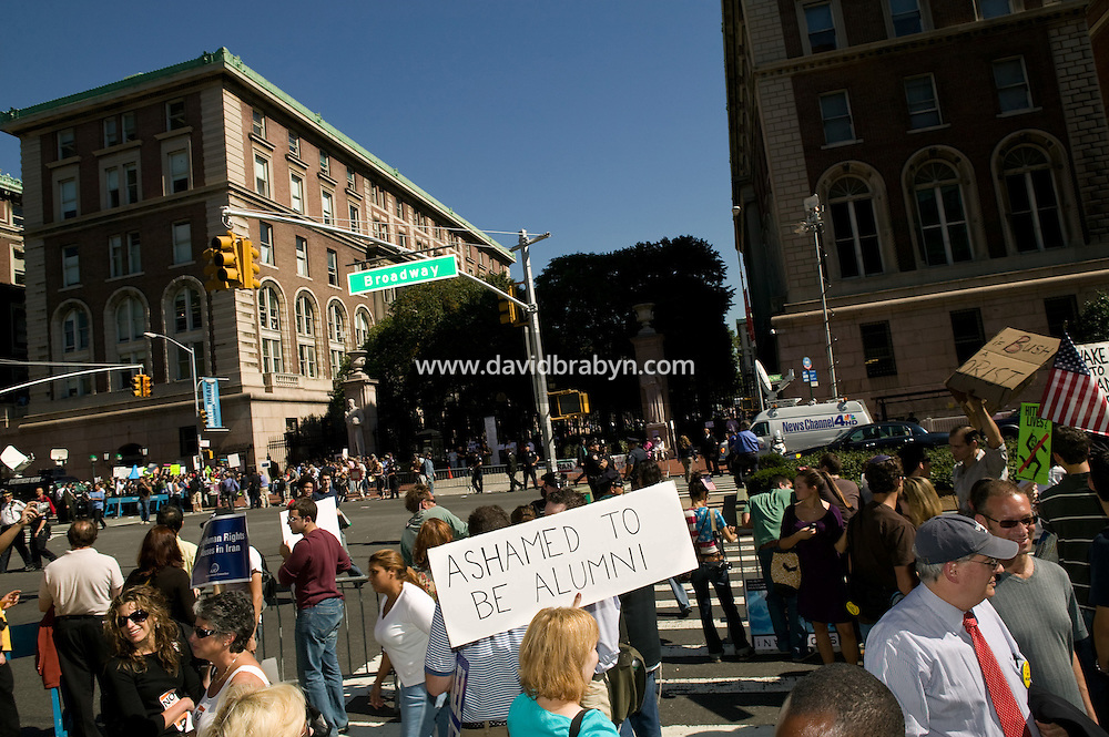 People demonstrate against Iranian President Mahmoud Ahmadinejad, 24 September 2007, outside Columbia University (seen in the background) in New York City, USA, where he was invited to speak. Ahmadinejad is in New York to attend the United Nations General Assembly.