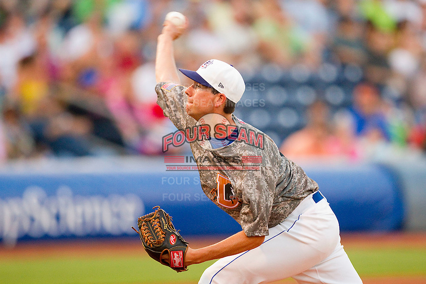 Starting pitcher Brian Baker #14 of the Durham Bulls delivers a pitch to the plate against the Lehigh Valley IronPigs at Durham Bulls Athletic Park June 26, 2010, in Durham, North Carolina.  Photo by Brian Westerholt / Four Seam Images