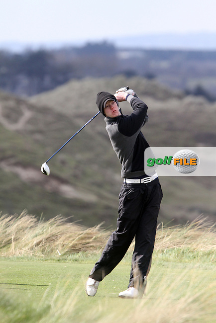 Evan Farrell (Ardee) on the 8th tee during the Leinster Youths Amateur Open Championship in the European Club, Brittas Bay, Co.Wicklow. 27/3/13..(Photo Jenny Matthews/www.golffile.ie)