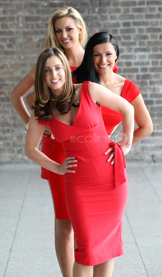 25/08/'10  TV3 presenter, Sinead Desmond, former Miss World, Rosanna Davison,  and singer, Hazel Kaneswarren pictured at CHQ this morning at a photocall ' This is not a Red Dress, It's a Red Alert' by the Irish Heart Foundation to publicise the fact that heart disease is not just a man's disease, it's the No.1 killer of Irish women. The national charity fighting herat disease and stroke urges all women to take action now to reduce their risk and know the symptoms of heart attack and stroke...Picture Colin Keegan, Collins, Dublin.