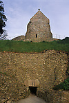 La Hougue Bie Neolithic tomb Jersey The Channel islands UK. Christian chapel church build above [Notre Dame de la Clarté]