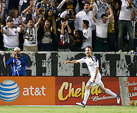 CARSON, CA - November 3, 2011: LA Galaxy midfielder Mike Magee (18) celebrates his goal during the match between LA Galaxy and NY Red Bulls at the Home Depot Center in Carson, California. Final score LA Galaxy 2, NY Red Bulls 1.