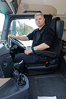 Pictured: PC Martyn Young of the Commercial Vehicle Unit in the driving seath of the Mercedes Actross truck which will be used by South Wales Police to police roads. Monday 16 April 2018<br /> Re: South Wales Police, in conjunction with Go Safe, have launched Operation Tramline across Wales.<br /> Operation Tramline is an operation taken from Highways England – it equips police forces with a Heavy Goods Vehicle and enables them to carry out patrols of main arterial roads throughout Wales. The vehicle gives operational officers a different perspective, enabling them to better detect dangerous driving.