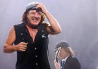 Tuesday, January 13, 2009--Brian Johnson and Angus Young, of .AC/DC perform at the Scottrade Center..Sarah Conard | freelance