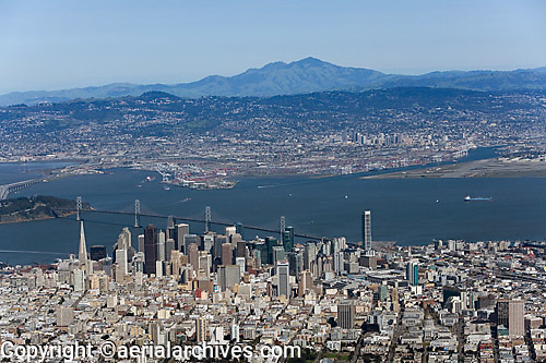 aerial photograph San Francisco skyline toward Oakland and Mount Diablo