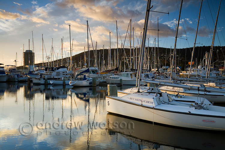 Sandy Bay marina with the Wrest Point casino beyond.  Hobart, Tasmania, AUSTRALIA