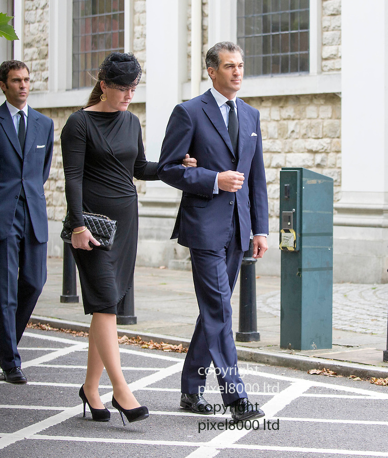 Pic shows: Edward and Lady Tamara van Cutsem arrive<br /> <br /> <br />  Prince Charles and Camilla arrives to bid  farewell to his dear friend and trusted confidant Hugh van Cutsem with Prince William and Prince Harry by his side.<br /> <br /> <br /> <br /> Charles and his two sons were among the mourners gathered at Brentwood Cathedral in Essex on 11th September, to honour the life of the late conservationist.<br /> <br /> <br /> <br /> <br /> Pic by Gavin Rodgers/Pixel 8000 Ltd