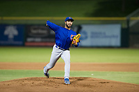 AZL Cubs relief pitcher Emilio Ferrebus (43) delivers a pitch to the plate during Game Three of the Arizona League Championship Series against the AZL Giants on September 7, 2017 at Scottsdale Stadium in Scottsdale, Arizona. AZL Cubs defeated the AZL Giants 13-3 to win the series two games to one. (Zachary Lucy/Four Seam Images)