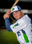 13 June 2018: Vermont Lake Monsters catcher Jose Rivas poses for a portrait on Photo Day at Centennial Field in Burlington, Vermont. The Lake Monsters are the Single-A minor league affiliate of the Oakland Athletics, and play a short season in the NY Penn League Stedler Division. Mandatory Credit: Ed Wolfstein Photo *** RAW (NEF) Image File Available ***