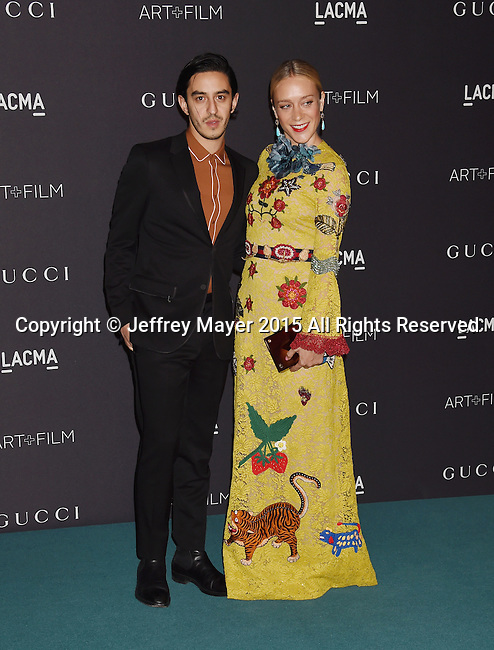 LOS ANGELES, CA - NOVEMBER 07: Director Ricky Saiz (L) and actress Chloe Sevigny attend LACMA 2015 Art+Film Gala Honoring James Turrell and Alejandro G Iñárritu, Presented by Gucci at LACMA on November 7, 2015 in Los Angeles, California.