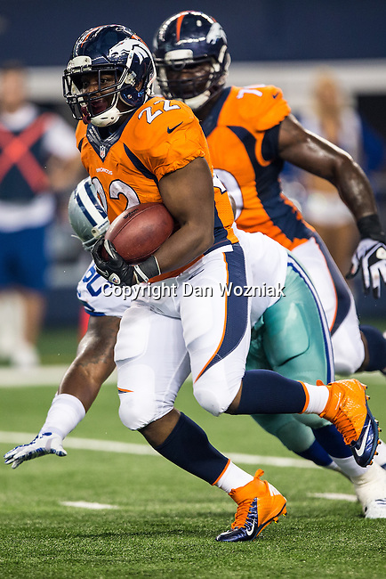 Denver Broncos running back C.J. Anderson (22) in action during the pre-season game between the Denver Broncos and the Dallas Cowboys at the AT & T stadium in Arlington, Texas. Denver leads Dallas 10 to 3 at halftime.