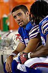8 October 2007: Buffalo Bills quarterback Trent Edwards looks up from the bench prior to a game against the Dallas Cowboys at Ralph Wilson Stadium in Buffalo, New York. The Cowboys defeated the Bills 25-24 for their fifth consecutive win of the season...Mandatory Photo Credit: Ed Wolfstein Photo