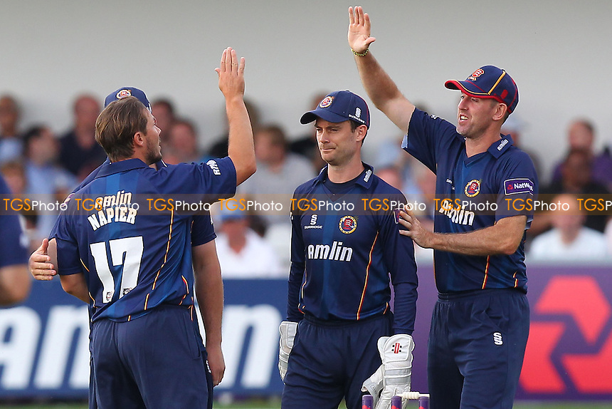 Graham Napier (L) of Essex is congratulated on the wicket of Craig Cachopa - Essex Eagles vs Sussex Sharks - NatWest T20 Blast Cricket at the Essex County Ground, Chelmsford, Essex - 25/07/14 - MANDATORY CREDIT: Gavin Ellis/TGSPHOTO - Self billing applies where appropriate - contact@tgsphoto.co.uk - NO UNPAID USE