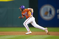 Kyle Wilkie (10) of the Clemson Tigers takes off for second base during the game against the Charlotte 49ers at BB&T BallPark on March 26, 2019 in Charlotte, North Carolina. The Tigers defeated the 49ers 8-5. (Brian Westerholt/Four Seam Images)