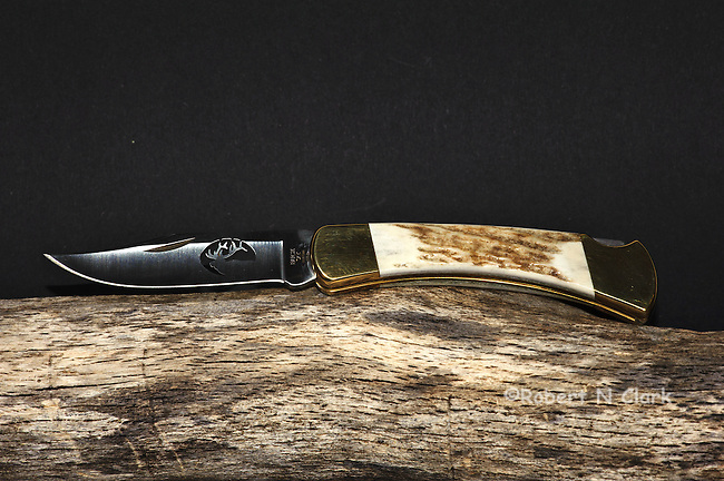 Limited Edition Buck 110 folding knife with bone handle and Elk laser cut-out in blade