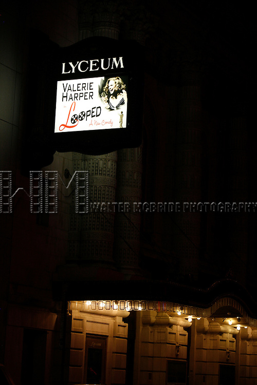 "Theatre Marquee for ""LOOPED"" at the Lyceum Theatre in New York City. Valerie Harper star as Talullah Bankhead in a play by Matthew Lombardo, under the direction of Rob Ruggiero. January 24, 2010.© WalterMcBride /  ."