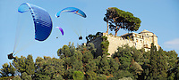 Portofino . Castle Brown. Paragliders.  Italy