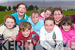 BUDDING ATHLETES: Pupils of Glen Derry NS who were taking part in the St Brendan's A.C. schools qualifiers at Spa G.A.A. grounds last Friday evening front l:r Grainne O'Sullivan, Christopher Hefferan, Louise Casey and Aileen McElligot. Back l:r Freya Casey, Meabh and Grace Keane and Aisling Hussey.   Copyright Kerry's Eye 2008