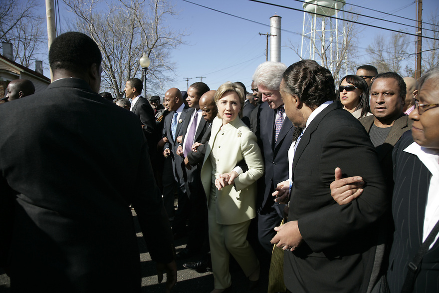 Democratic Presidential candidates Sen. Barack Obama(D-IL) and Senator Hillary Clinton (D-NY) take part in the 42nd anniversary celebrations of the civil rights conflict of Bloody Sunday, in Selma, AL.<br /> Photo by Brooks Kraft/Corbis