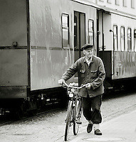 Local man leaving a train station in Bad Doberan, northern Germany