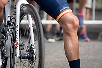 spanish national champion Alejandro Valverde's (ESP/Movistar) knee at the race start in Clermont-Ferrand<br /> <br /> Stage 1: Clermont-Ferrand to Saint-Christo-en-Jarez (218km)<br /> 72st Critérium du Dauphiné 2020 (2.UWT)<br /> <br /> ©kramon