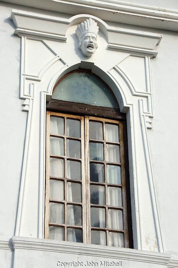 Window detail of a mansion on Paseo de Montejo, Merida, Yucatan, Mexico