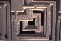 Frank Lloyd Wright: detail of textured block. Mayan design.  Photo Jan. 1976.