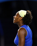 Serena Williams (USA) amused at the replay of a line call against Svetlana Kuznetsova (RUS)  on day 10 of the Australian Open Tennis , 28-1-09
