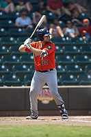 Jake Adams (30) of the Buies Creek Astros at bat against the Winston-Salem Dash at BB&T Ballpark on July 15, 2018 in Winston-Salem, North Carolina. The Dash defeated the Astros 6-4. (Brian Westerholt/Four Seam Images)